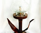 Flower Accent Lamp Made From Salvaged Metal