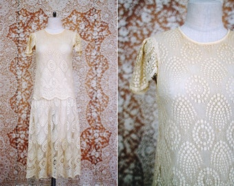 vintage 1920's inspired cream lace drop waist dress / size xs - s