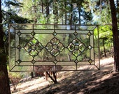 Large Triple Beveled Flowers Stained Glass Window
