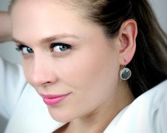 SALE - Topaz earrings,blue topaz earrings,gold earrings,gold dangle earrings,gemstone earrings,London topaz jewelry,round e