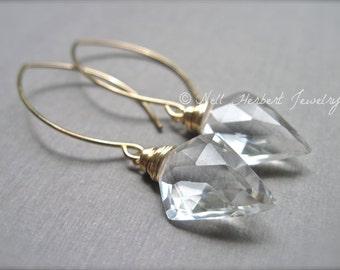 Geometric Dangle Earrings in Crystal Quartz, Gold Filled Gemstone Earrings, Clear Crystal Quartz Wire Wrapped Earrings