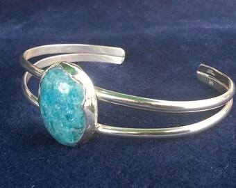 Apatite Bracelet, Sterling Silver  Cuff Bracelet