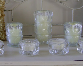 2 Sets of Faceted Crystal Candles