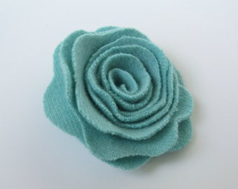 New Small Mint Green Cashmere Rose Flower Pin Felted Wood Floral Brooch