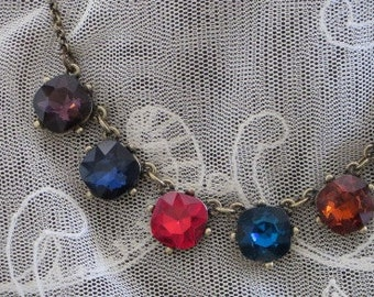 Vintage Style RHINESTONE  Multi-Color NECKLACE and EARRINGs Set