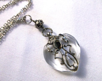 Vintage Inspired Silver Filigree And Silver Rhinestone Heart Perfume Bottle Necklace