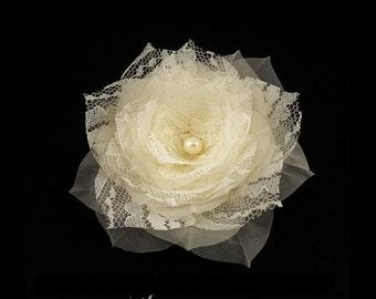 Lace Wedding Hair Flower, Pure Silk Bridal Hair Flower, Floral Bridal Hairpiece, Rustic Wedding Hair Piece, Bridal Hair Accessory Ivory Clip