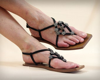 Black Leather Thongs * Black Leather Flip Flops * Naked Feet * Suede Thongs * Black Sandals * Summer Sandals