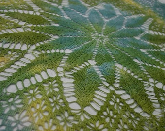 "Hand Dyed Tinted Vintage Hand Crocheted Doily 26 x 26"" Beautiful Green,Blue,Yellow"
