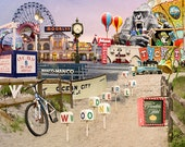 Ocean City New Jersey Beach and Boardwalk Photography Collage Artt Print 5x7 inches