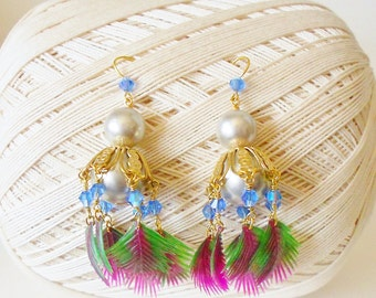 Flora Exotica Chandelier Earrings Purple Green Gold Long Dangles Blue Crystal beaded Wild