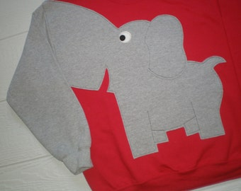 RED Elephant sweatshirt, Trunk sleeve. Elephant costume, elephant sweater. Adult sizes. UNISEX sizes. Roll Tide!! Alabama crimson tide