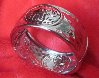"ALABAMA 1 1/2"" Wide Silver Embossed Elephant Cuff Bracelet Embellished with Crimson Swarovski Crystal Eyes"