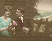 Romantic French Couple Real Photograph Sienne Hand Colored 600 DPI - Digital Art, Scrapbooking, Card Making & Crafts  INSTANT DOWNLOAD