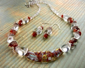 Dichroic glass pendant necklace with carnelian gemstones, boro glass & clear quartz in marsala red with multicolor metallic flecks / OOAK
