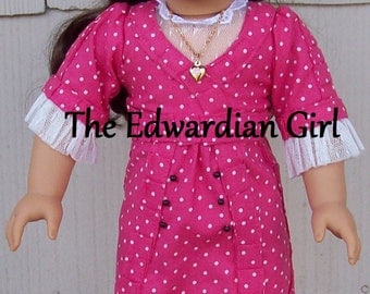 Pink and white polka dot pleated Edwardian dress. Fits American Girl, Sprinfield, OG  Titanic, Downton Abbey.  Made in USA.