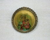 Antique Russian Brooch: Imperial Czarist era, Virgin & Child Ikon
