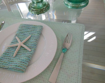 Striped Cloth Napkins - Set of Four - Mint Green with a Varigated Stripe Napkins by Pillowscape Designs