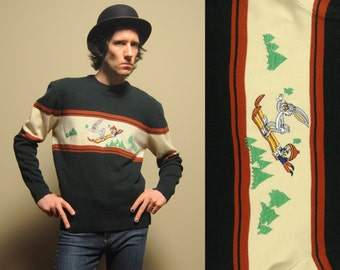 vintage 70s ski sweater Bugs Bunny Elmer Fudd 1970 Anton Zanus Warner Bros acrylic sweater forest green medium large