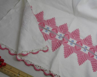 "17x30""  Kitchen Large Hand Tea Towel - Handmade Vintage Pink Blue White Gold - Embroidery - Embroidered - Tatted Edges - 17 by 30 Inches"
