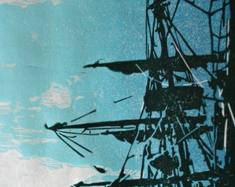 Ship at the Harbor  -Hand Pulled, Limited Edition