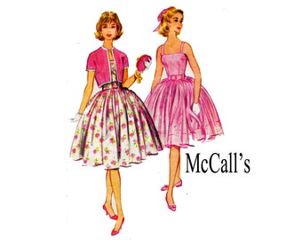 60s Bouffant Dress and jacket Vintage Sewing Pattern Teen Size 14 Bust 34 Classic rockabilly style picnic party dress McCalls 5328