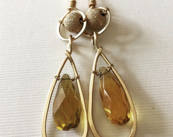 Hammered gold-filled earrings with large citrine beads/wire wrapped earrings