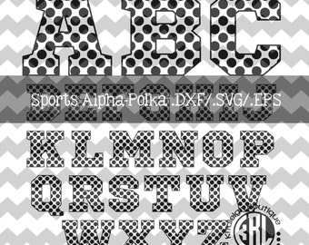 Polka- Sport Alphabet .DXF/SVG/.EPS File for use with your Silhouette Studio Software