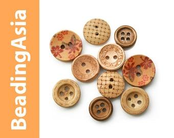 10 pcs Wooden Buttons Mixed Lot (795-055)