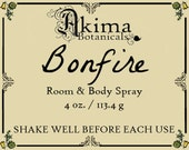 BONFIRE Room & Body Spray 4 oz ~ firewood, cedar, dragon's blood, rose ~ Free from alcohol, parabens, preservatives ~ For home, office, car