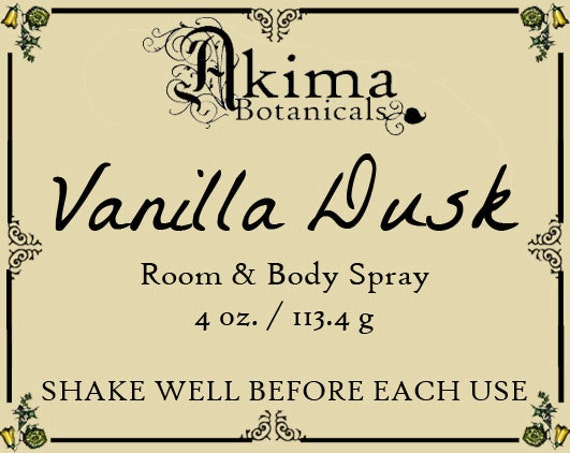 VANILLA DUSK Room & Body Spray 4oz ~ vanilla, egyptian musk, sandalwood ~ Free from alcohol, parabens, preservatives ~ For home, office, car
