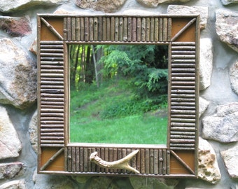 Twig Mirror In Raw Sienna Crackle Finish With Deer Antler