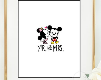 Printable art frameable wall decor. Mickey and Minnie. Disney. honeymoon. Mr and Mrs