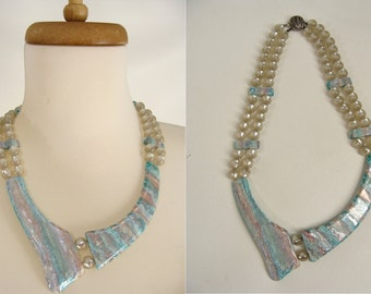 TEMPORARILY REDUCED was 24.44 unique vintage 80s Blue Pearly Lucite Plastic Asymmetrical Collar Necklace to tighten or use for DIY parts