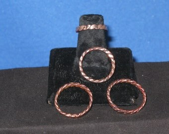 Copper rings 3mm wide twisted copper herringbone style Unisex, Etsy