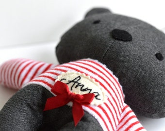 Personalized plushie Choose a bear, a cat or a rabbit Name banner Stuffed animal Stuffed toy Softie Striped Red Navy blue 25 cm 9.8""