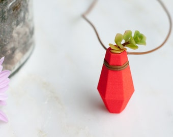 Geometric Hexagonal Planter Necklace in Bright Coral