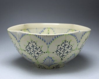 Handmade Wheel Thrown Ceramic Bowl with Chartreuse, Sky Blue and Navy Pattern