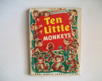 children's book . Vintage Rand McNally Book: Ten Little Monkeys . vintage illustration art . vintage Katherine L. Phillips illustrations
