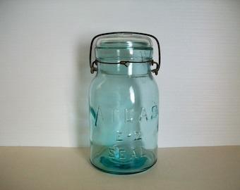 vintage water blue jar for canning . vintage canning jar . Atlas seal jar . vintage jars . cottage decor . cottage chic decor for kitchen