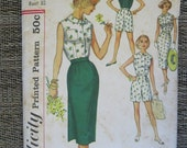 1960's Simplicity 2589 Junior Jr Misses' Misses' Size 13 Skirt Blouse Shorts Sewing Pattern