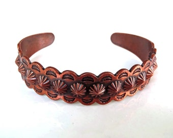 Vintage Copper Bracelet Southwestern Navajo Style Cuff Machine Die-Cut Stamped Repoussé Scalloped Edge Unsigned Copper Bell Jewelry