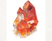 "Orange Quartz Cluster -  5"" x 7"" Watercolor Art Print"