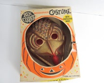 1960's Ben Cooper Golden Falcon Bird Man Halloween Costume Mask in its Box      Box C