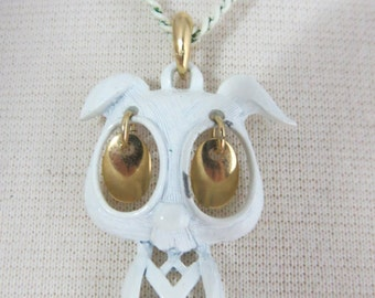 Vintage White Puppy Dog Necklace with Moving Eyes