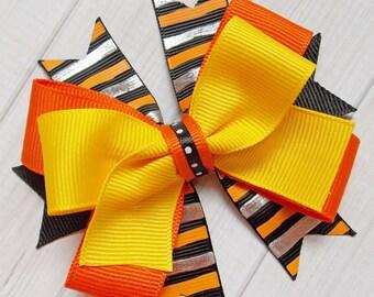 Halloween Candy Corn Hairbow - Halloween, Halloween Bow, Candy Corn, Halloween Colors, Silver Foil, Candy Corn Colors