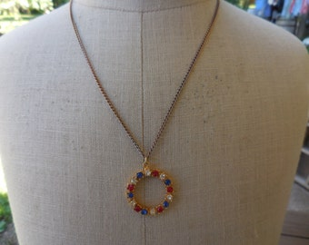 Vintage Gold Tone Red/White/Blue Rhinestones Necklace 1960s to 1970s Patriotic Americana Wreath Like