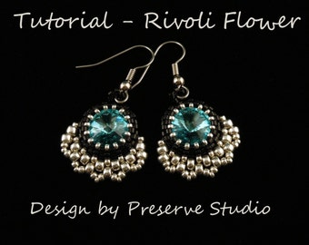 Beaded Rivoli, Earring Tutorial, Seed Bead Patterns, Rivoli Tutorial, Beaded Earring Pattern, Bead Patterns, Learn to bead, DIY Earrings