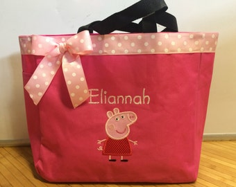 Personalized Girl Peppa Pig Tote Bag Baby Diaper Bag Book Bag