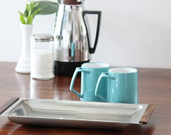 Mid Century Tray, Danish Modern Serving Platter, 18/8 Stainless Steel and Wood, Made in Denmark by Kalmar